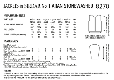 Sirdar 8270 Ladies Jackets in Sirdar No.1 Aran Stonewashed (PDF) Knit in a Box