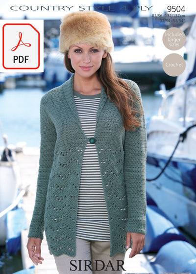 Sirdar 9504 Cardigan With Shawl Collar in Country Style 4 PLY (PDF) Knit in a Box
