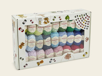Sirdar Happy Cotton DK Happy Box - 50 x 20g + FREE Book Knit in a Box