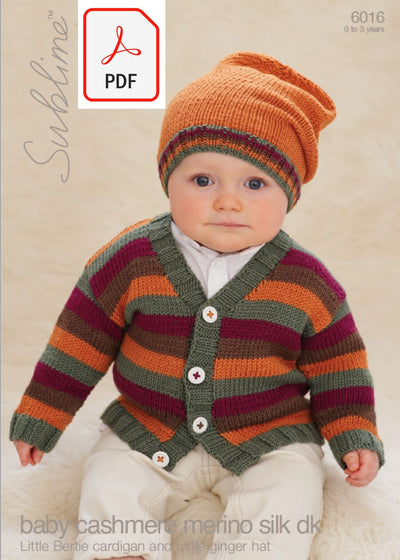 Sirdar Sublime 6016 Little Bertie Cardigan & Hat in Baby Cashmere Merino Silk DK (PDF) Knit in a Box
