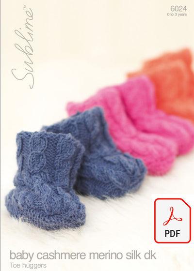 Sirdar Sublime 6024 Toe Huggers in Baby Cashmere Merino Silk DK (PDF) Knit in a Box