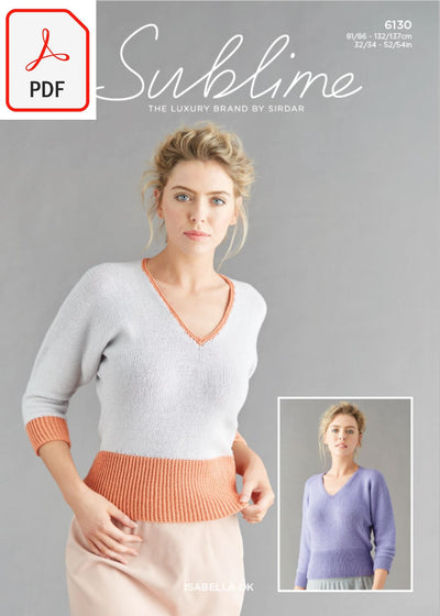 Sirdar Sublime 6130 Ladies Tops in Sublime Isabella DK (PDF) Knit in a Box