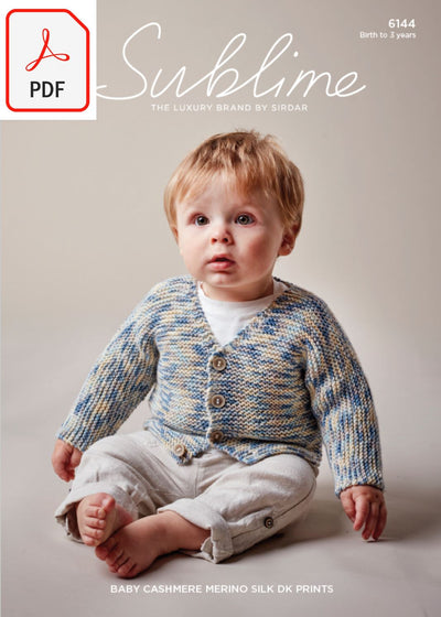 Sirdar Sublime 6144 Baby Boy's V Neck Cardigan in Baby Cashmere Merino Silk DK Prints (PDF) Knit in a Box