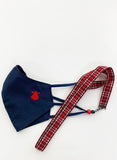 Kids Mask Navy Blue Red Cape Red Checkered Ribbon