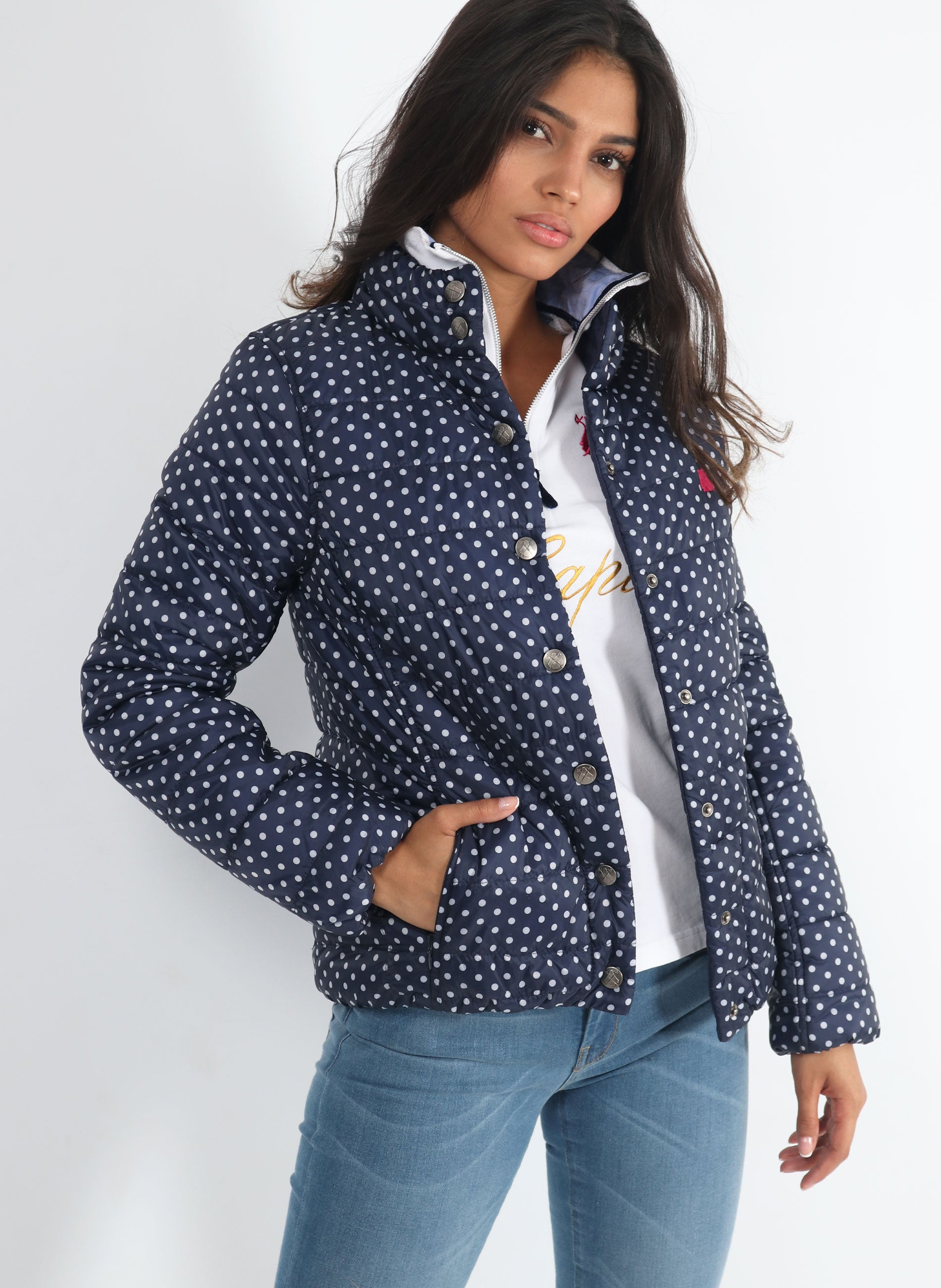 Feather Woman Blue Polka Dot Reversible