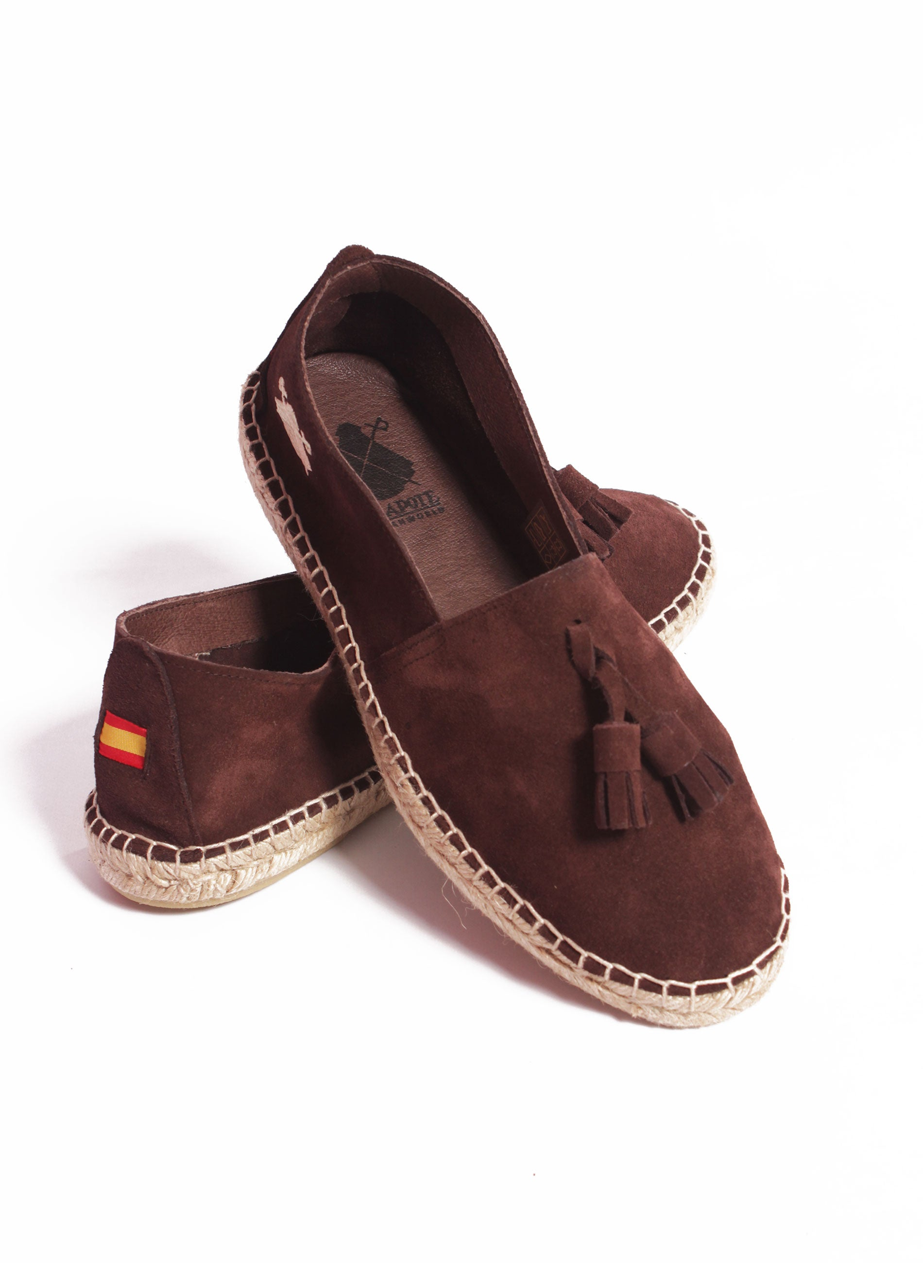 Chocolate Brown Split Leather Espadrilles with Tassels