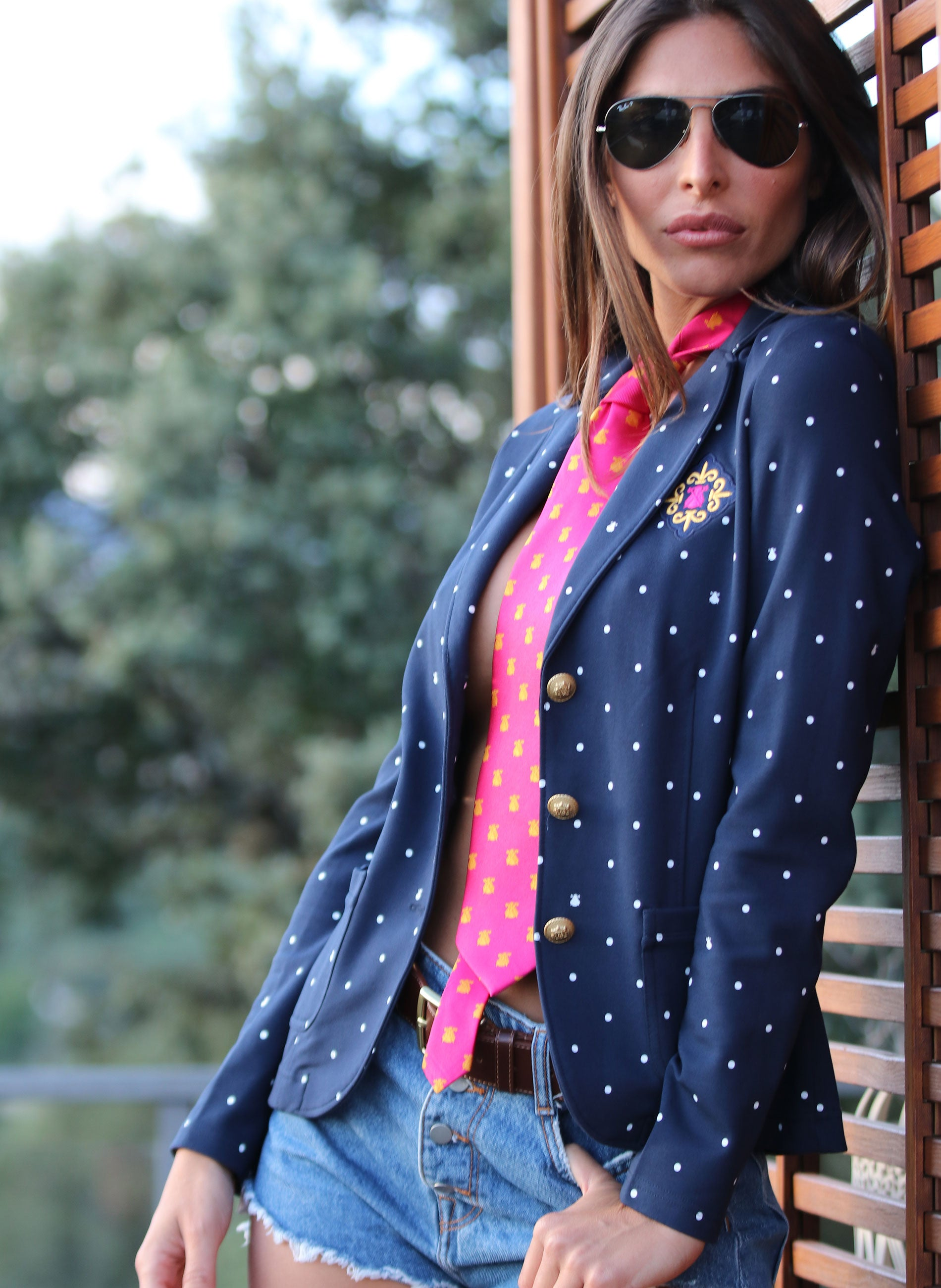 American Navy Blue Polka Dot Woman