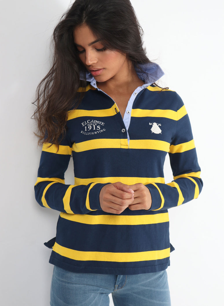 Polo Rugby Femme Rayures Bleues et Jaunes