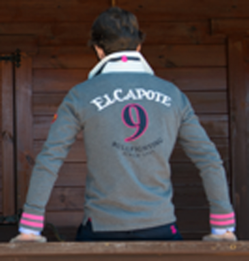 POLO RUGBY GRAY DARK / PINK CAPOTE