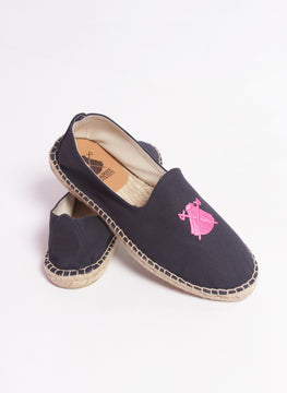 NAVY BLUE ALPARAGATAS EMBROIDERED CAPOTE IN ROSA FUCSIA