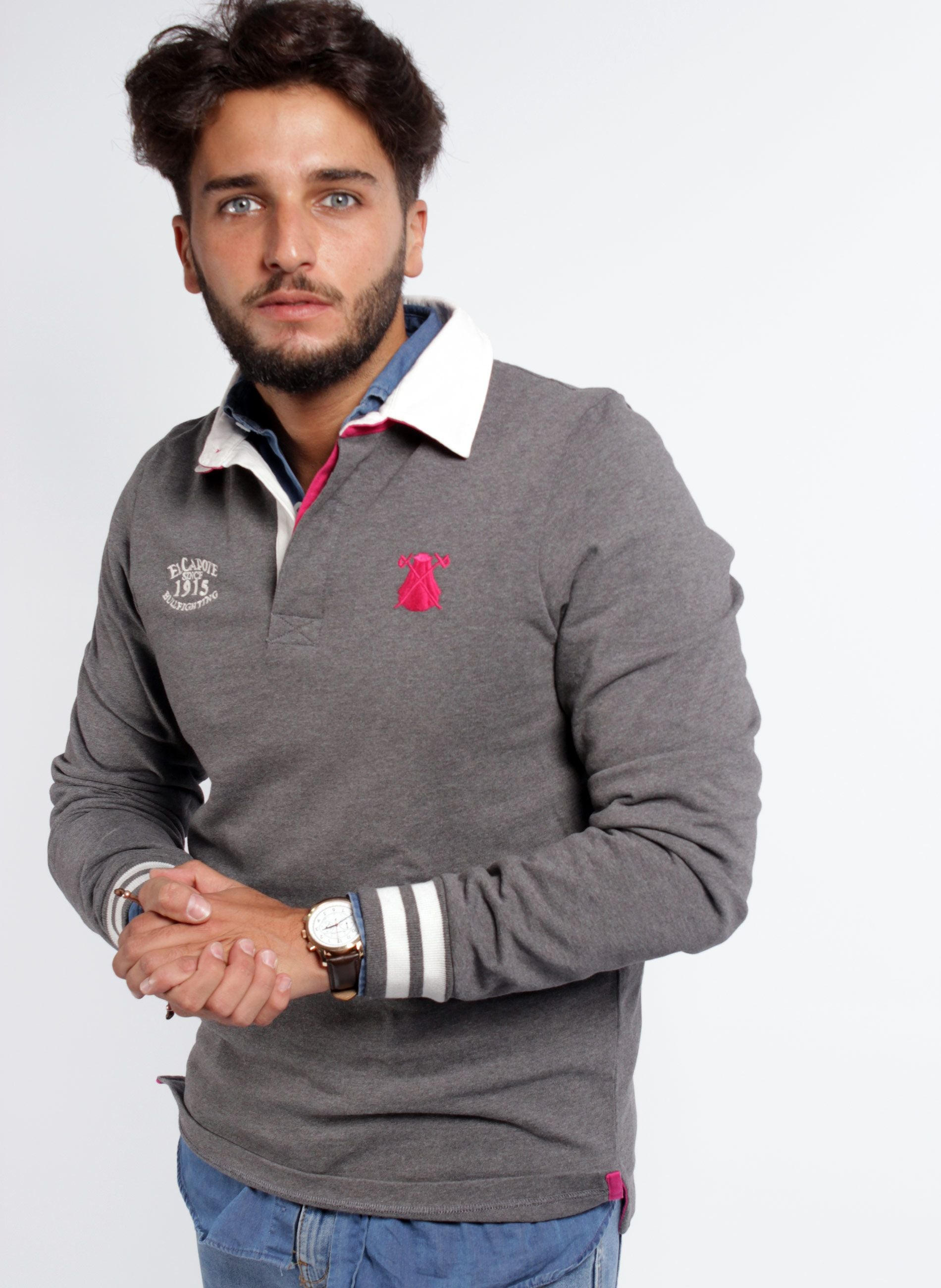 MEN'S GRAY RUGBY POLO SHIRT