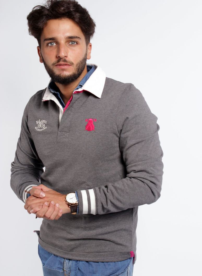 GRIJS RUGBY POLO MAN