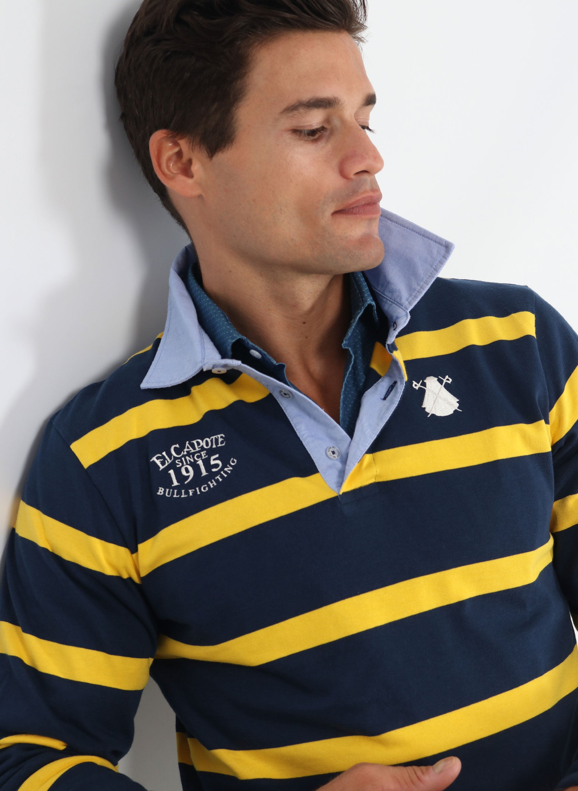 Polo Rugby Man Blue and Yellow Stripes