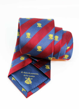 BLUE STRIPES TIE AND GRANA LOGOS GOLD