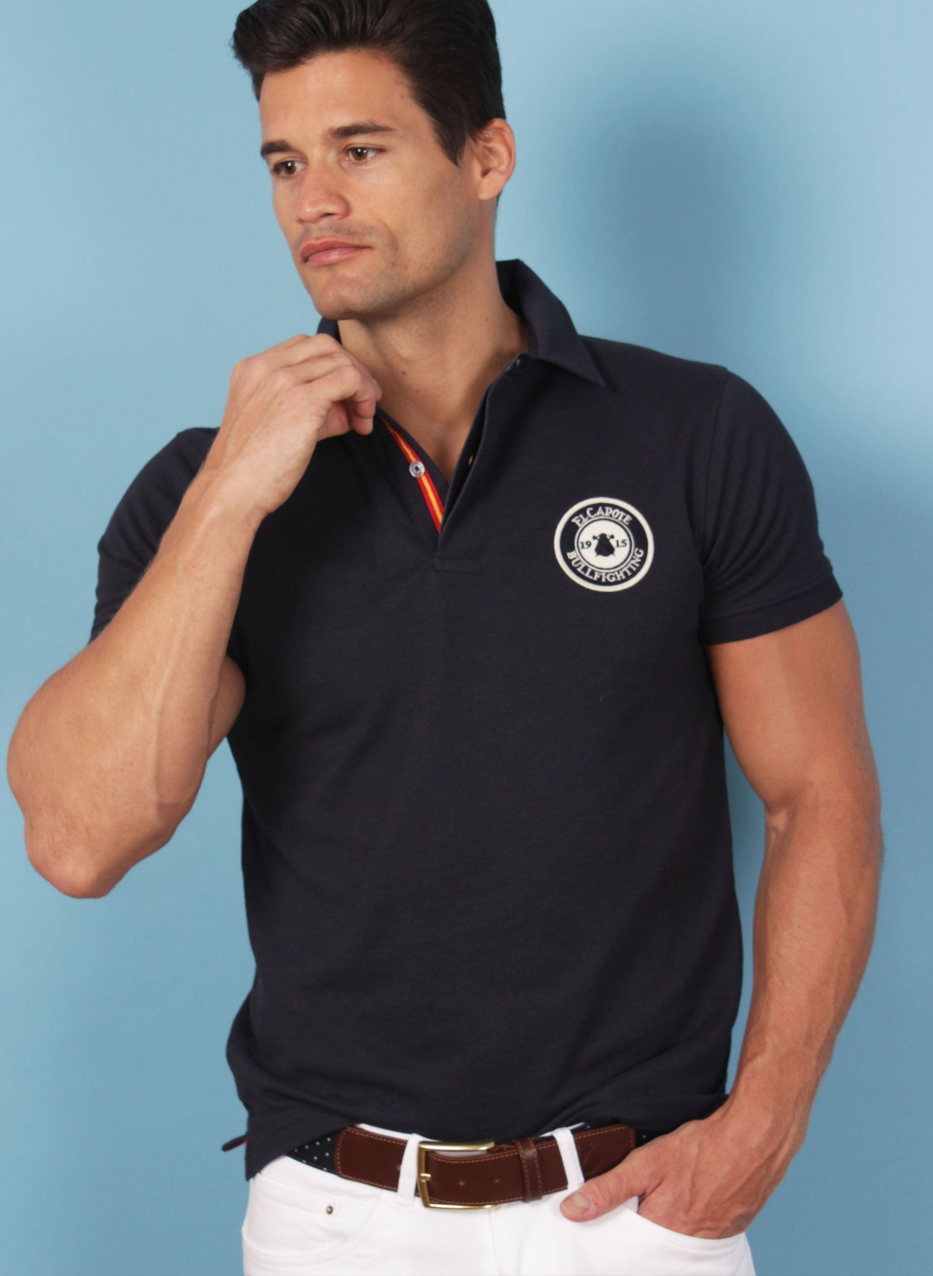 Navy Blue Granulated Men's Polo Shirt Spain