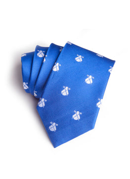 Royal Blue White Logo Tie