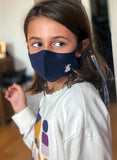 Navy Blue Kids Mask White Cape Blue Checkered Ribbon