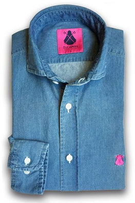 SHIRT MAN DENIM BLAUW