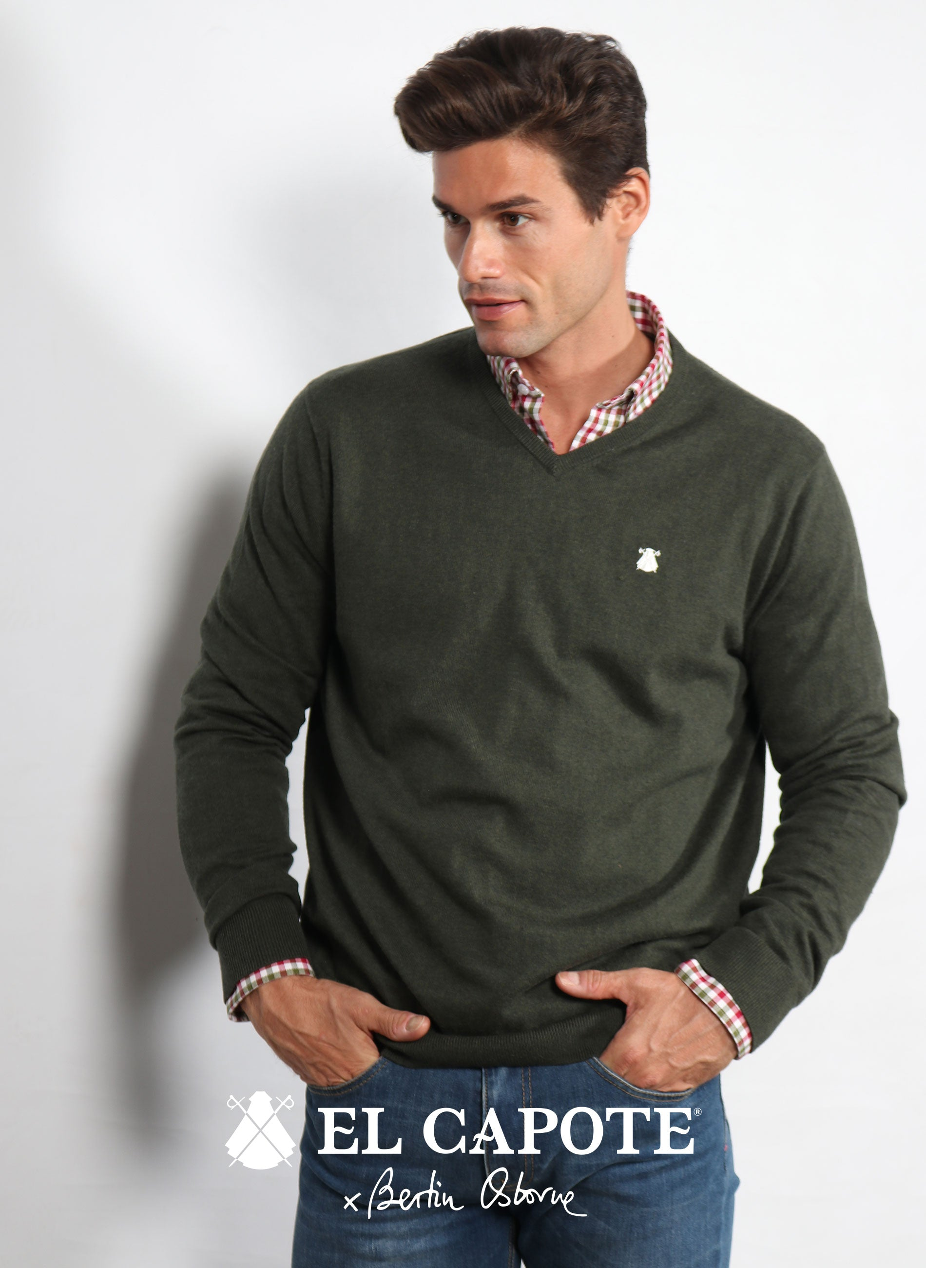 Herren V-Neck Sweater Forest Green x Bertín Osborne