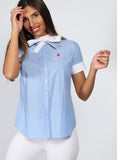 Women's Light Blue Bow Shirt