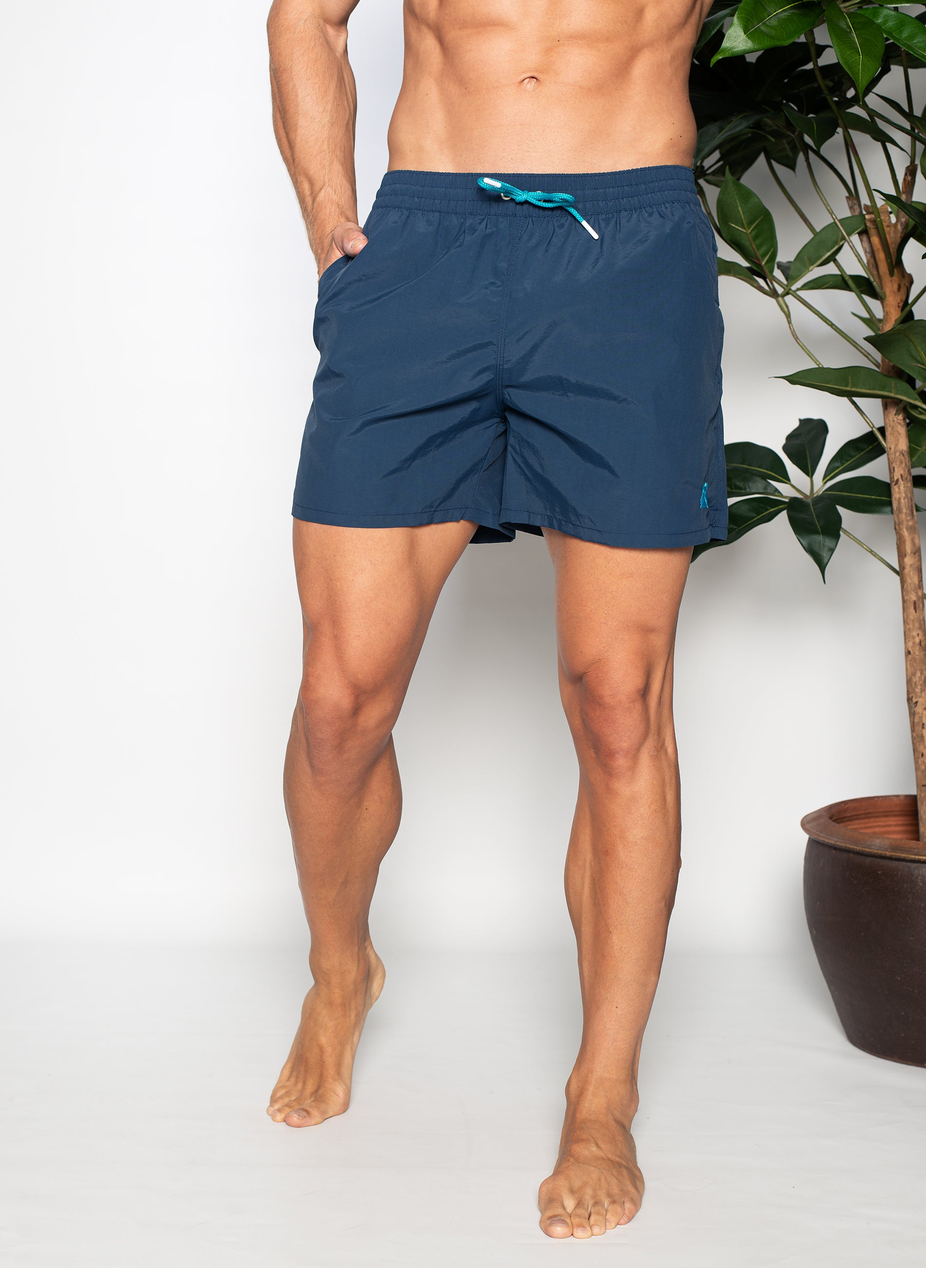 Navy Blue Swimsuit Turquoise Details