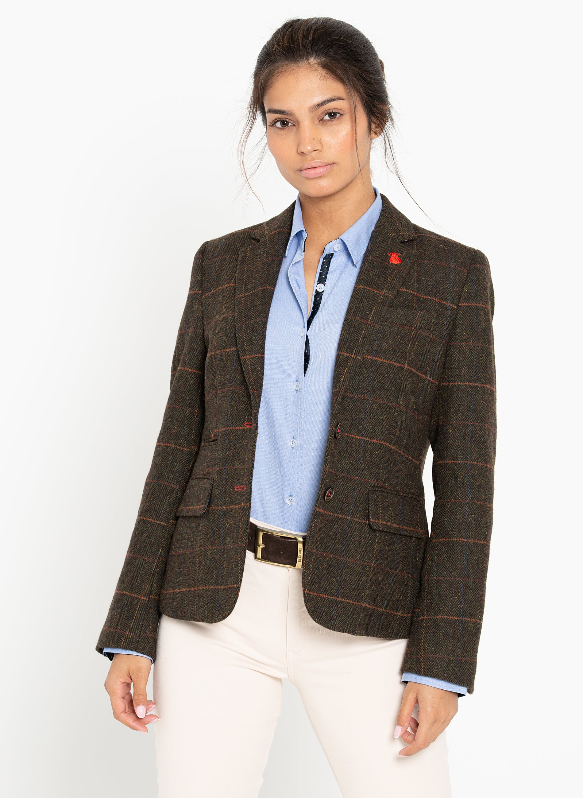Green Blazer Elbow Patches Pink Capote Woman