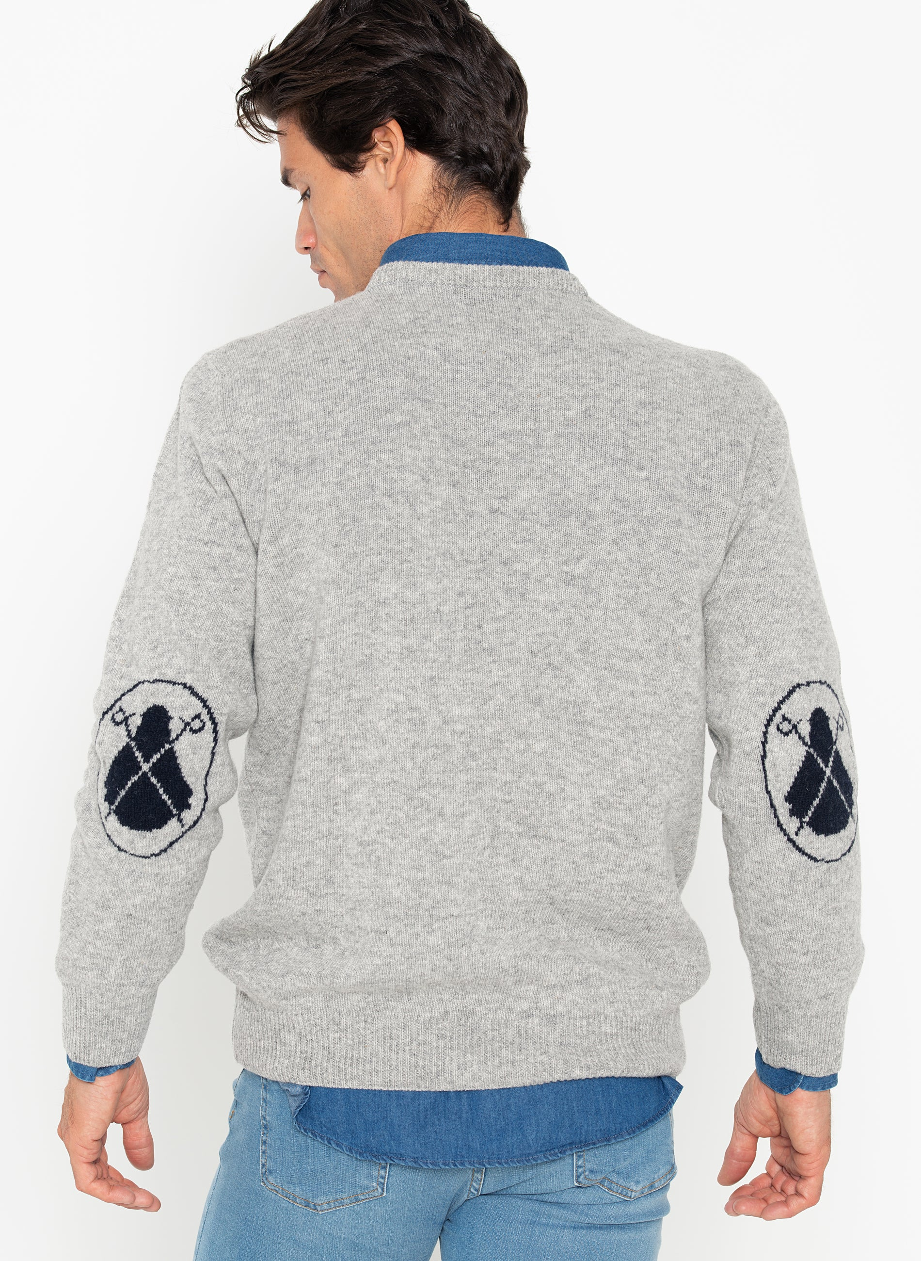 Jersey Man Gray Elbow Patches Blue Capes