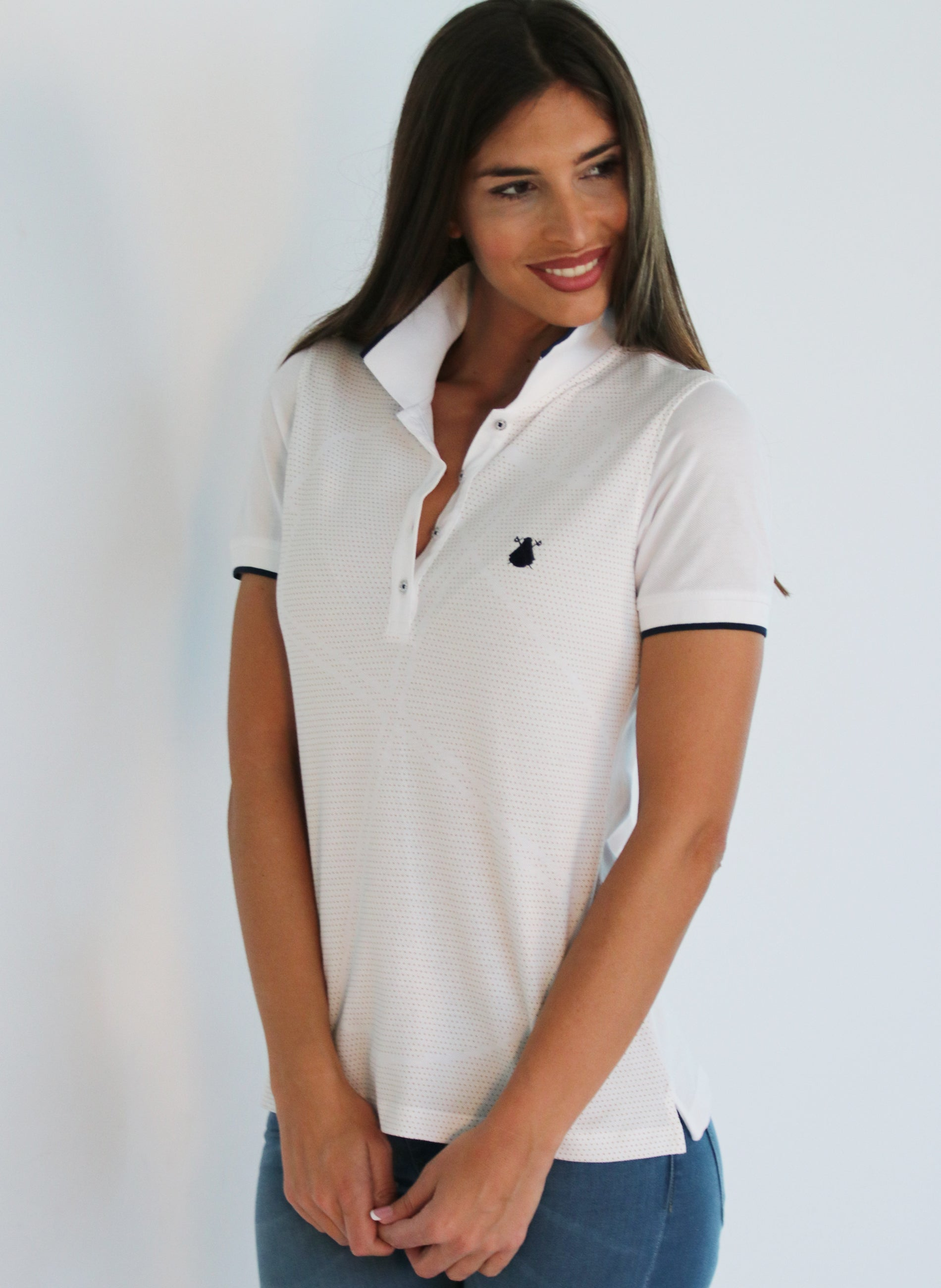 White Polo Logo Polka Dots Woman