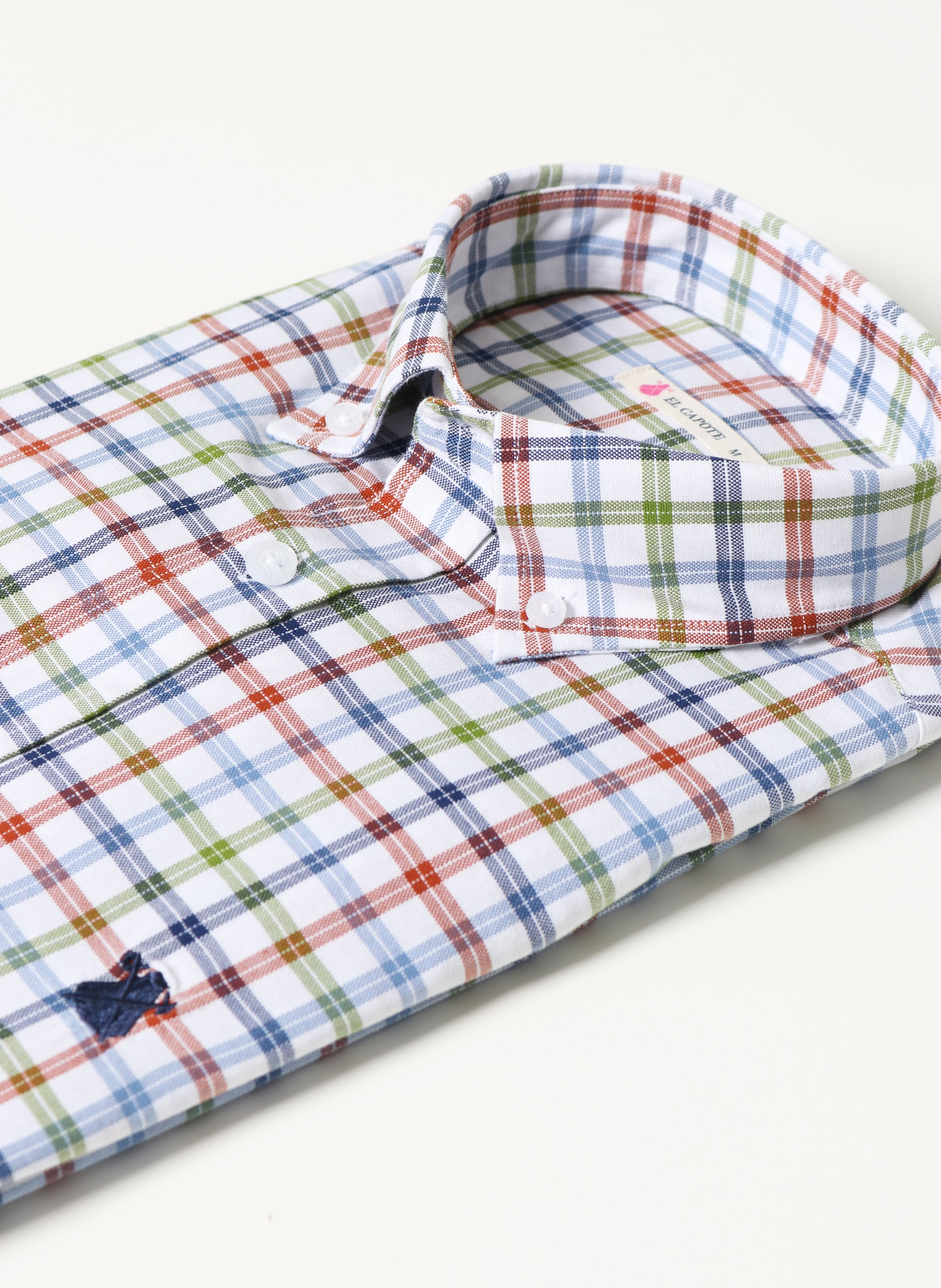 Men's White Shirt Green, Blue and Tile Checkers