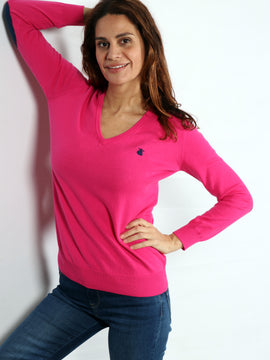 Pink Woman Sweater with Peak Capote with Elbow Patches