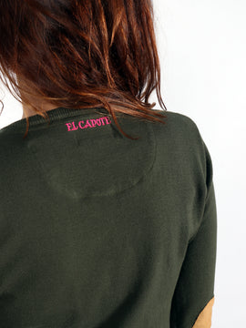 Women's Green V-neck Sweater with Elbow Patches