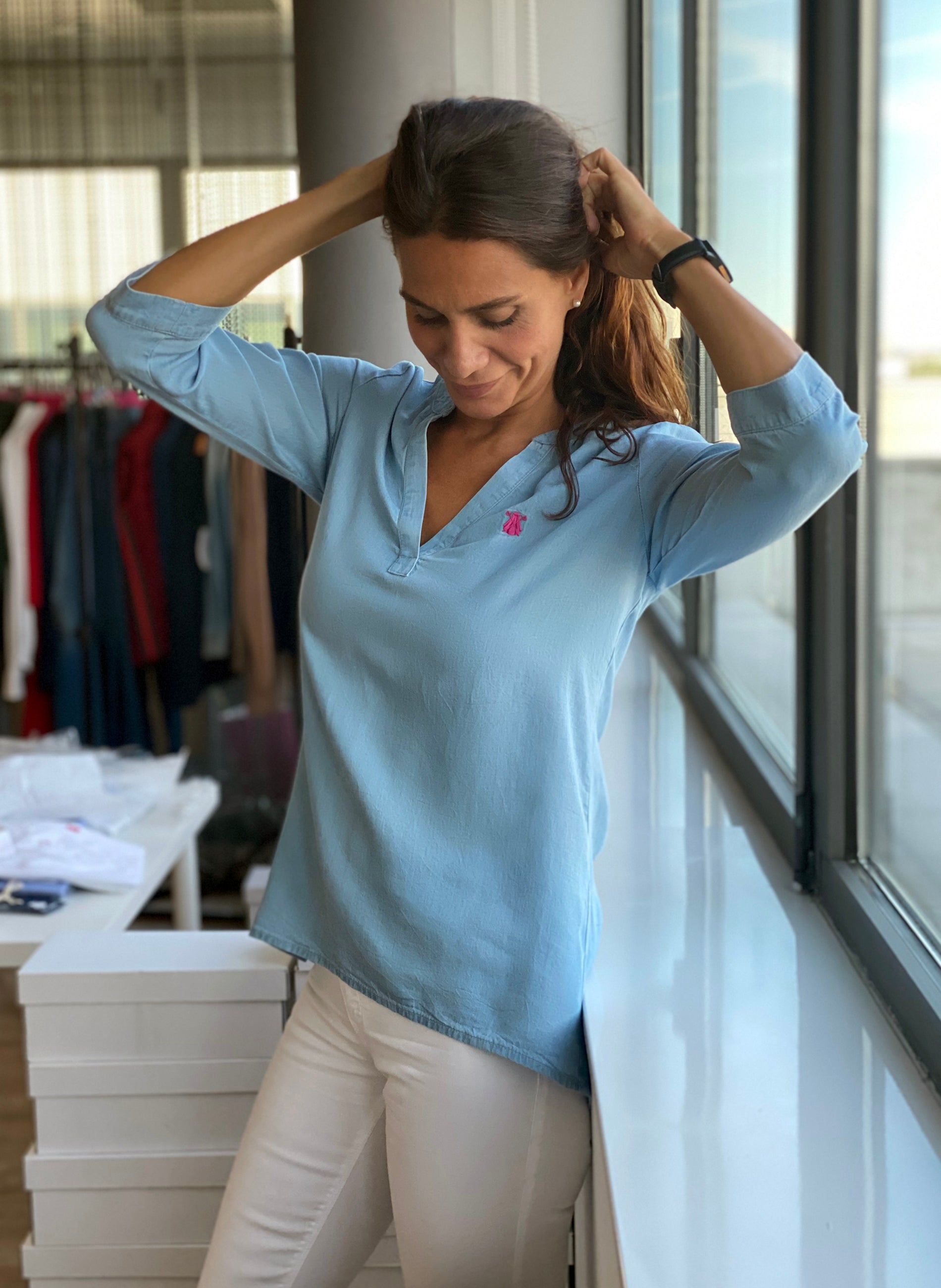 Tencel denim blouse voor dames