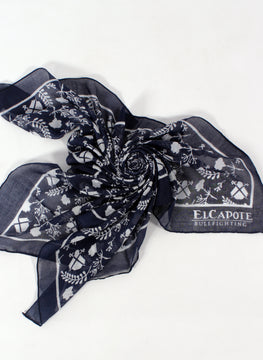 Navy Neck Scarf White-logo