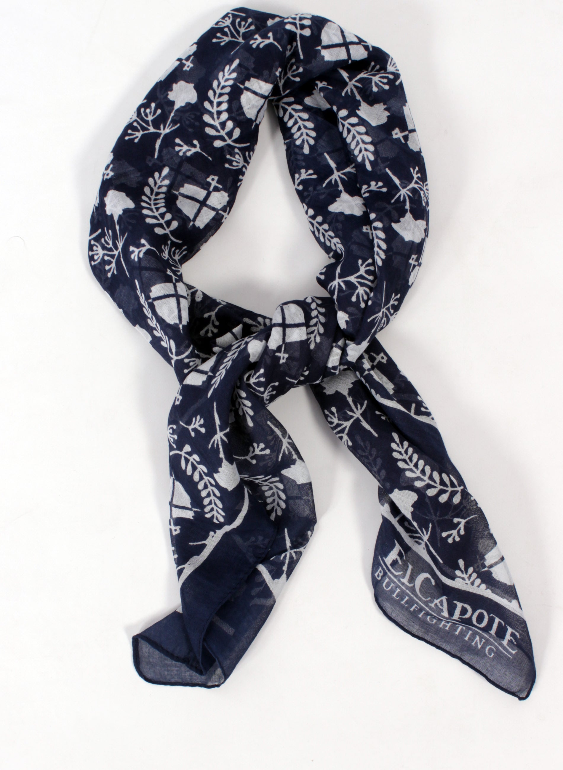 Navy Neck Scarf White Logo