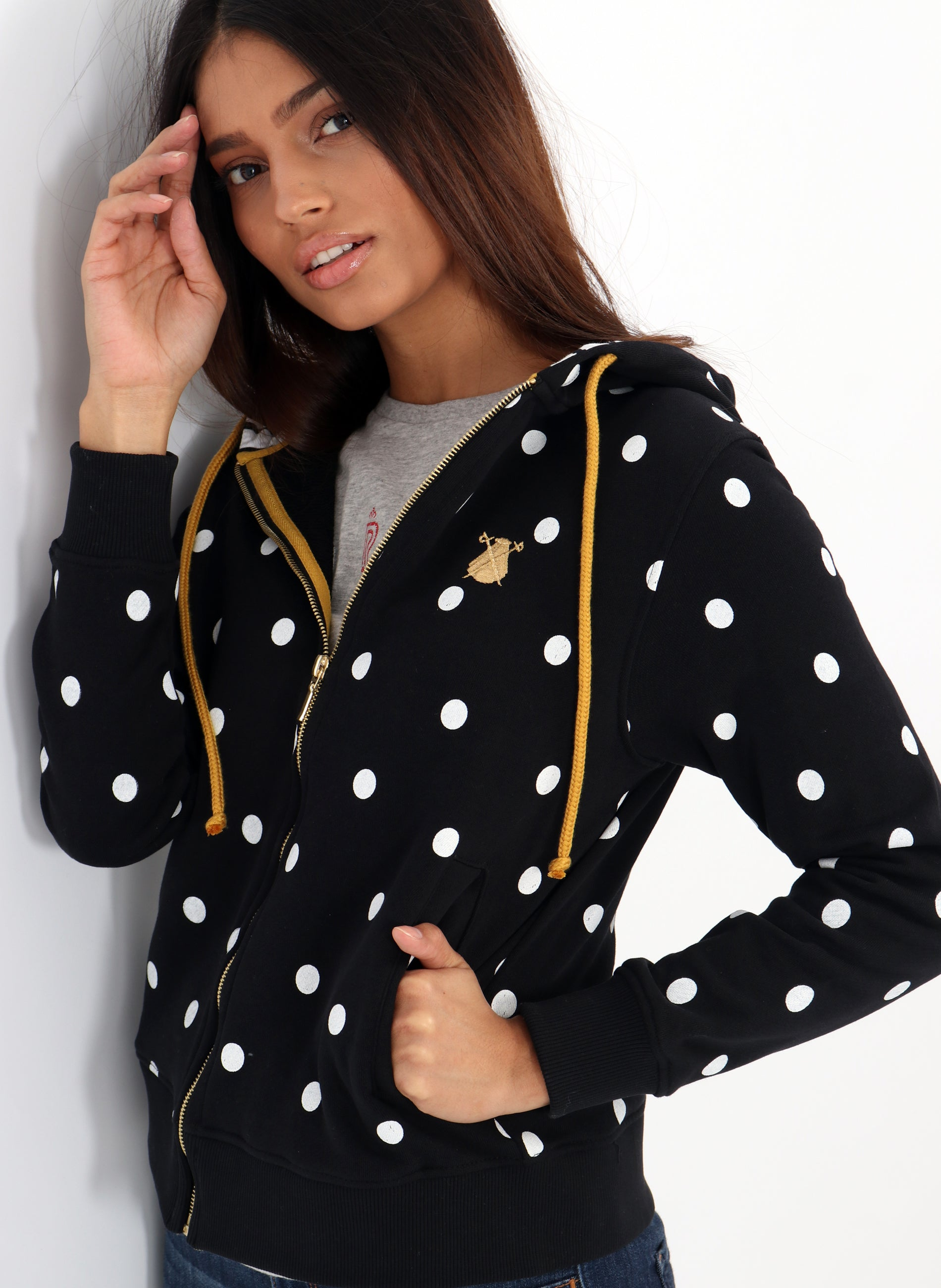 Black Sweatshirt with Polka Dots and Hood