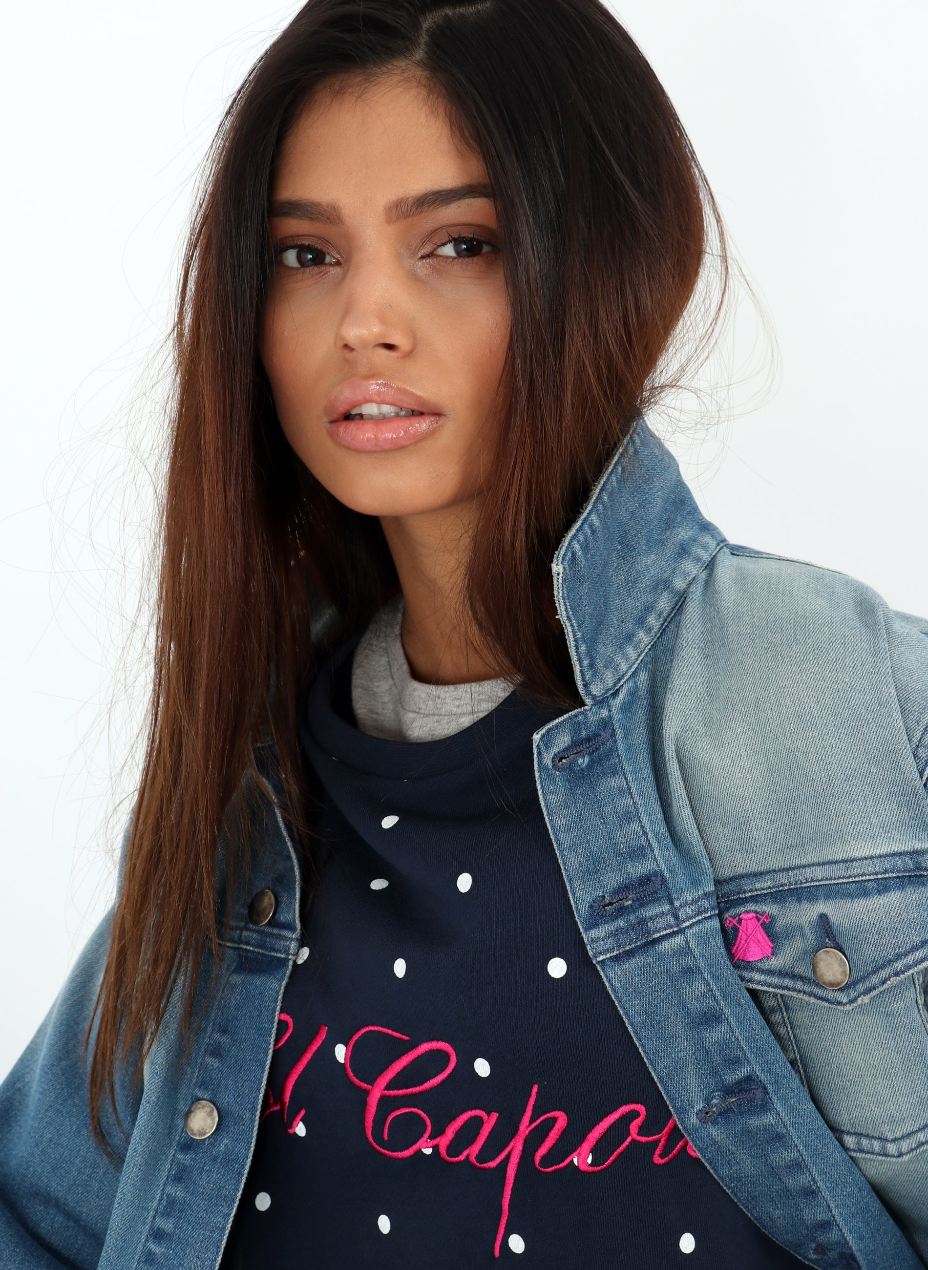 Blue Polka Dot Sweatshirt Woman
