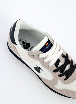 White Shoe Navy Blue-logo