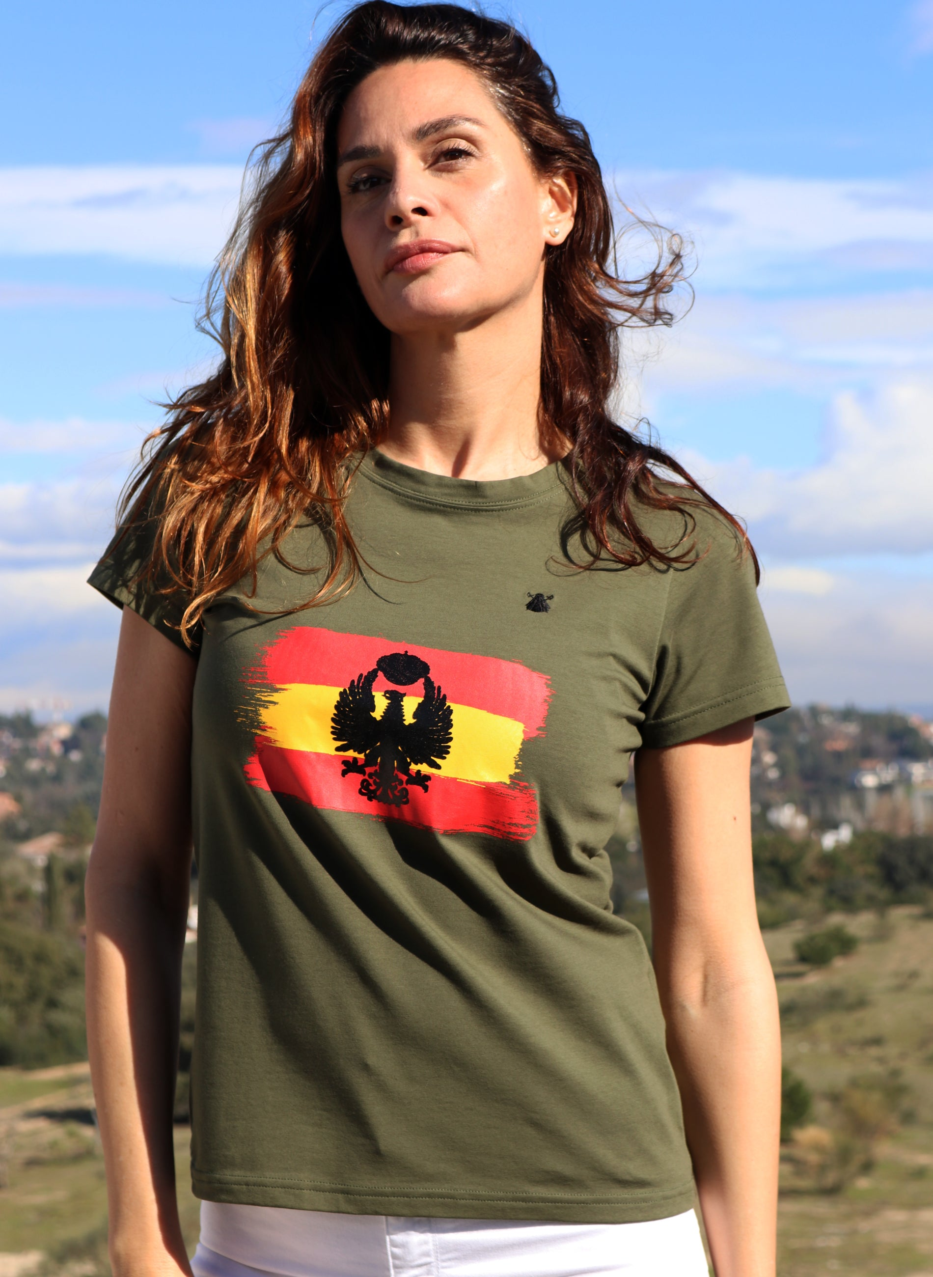 Kaki T-shirt Woman Tribute to the Army
