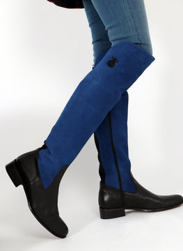 Boots High Black Serraje Blue