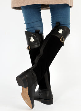 Black High Boots Suede Leather