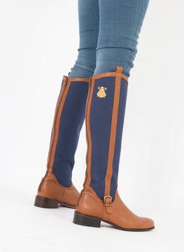 Leather and Blue Denim Boot
