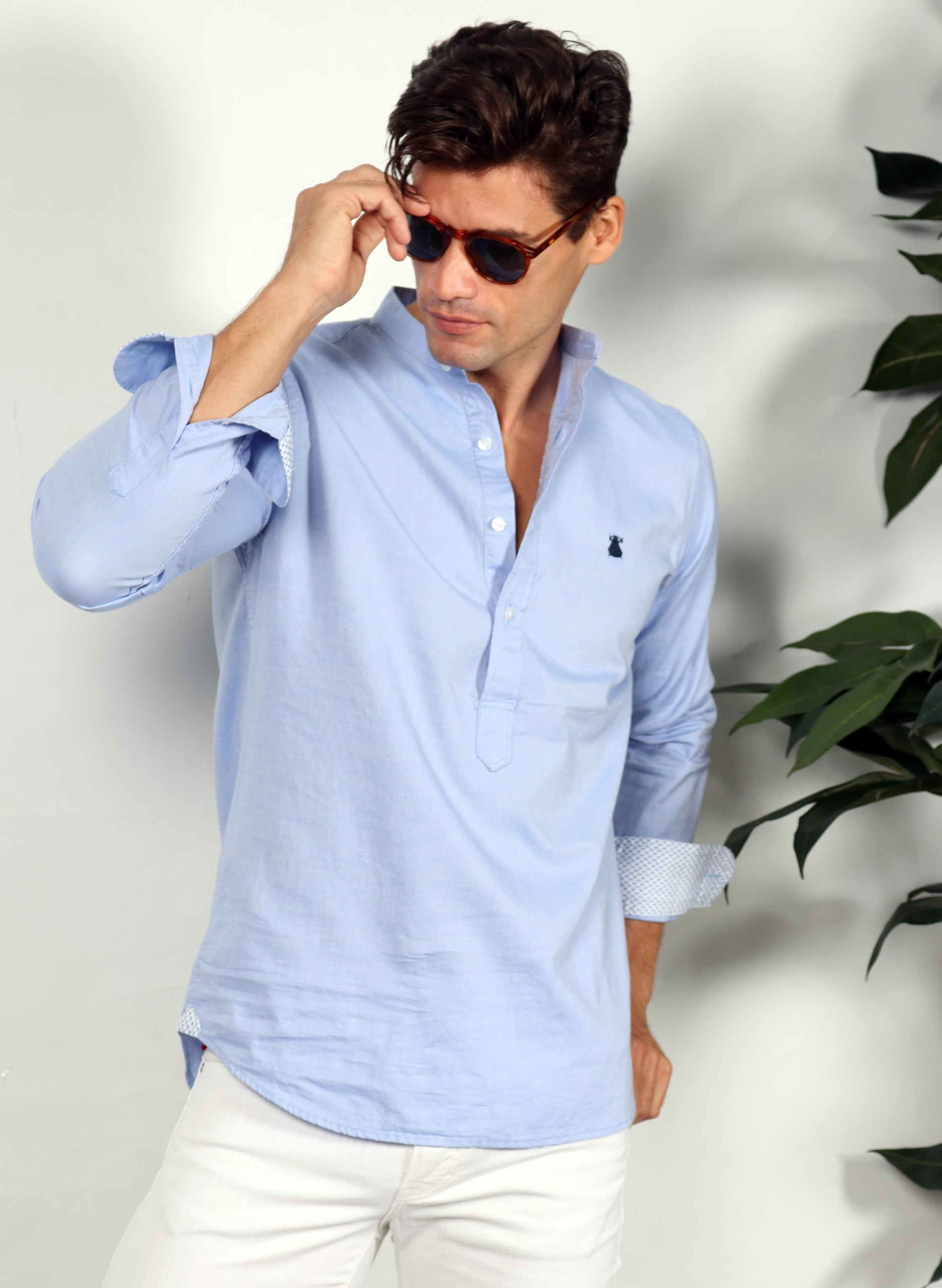 Mandarin Collar Blue Oxford Shirt