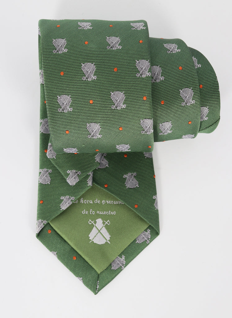 Green Tie White Capotes and polka dots