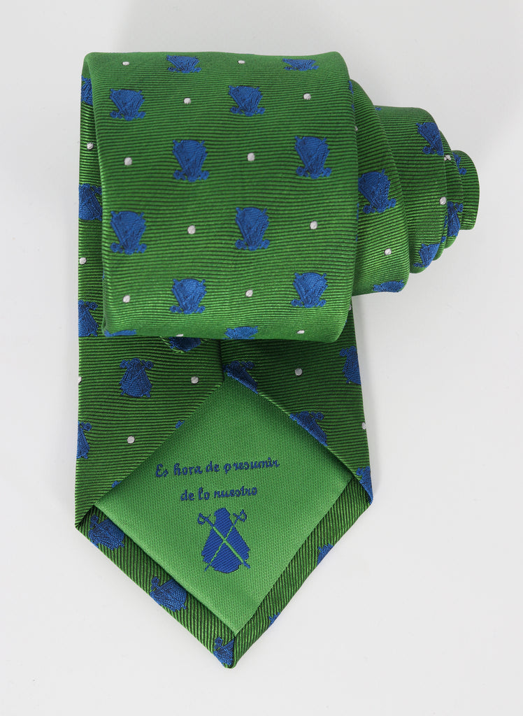 Green Tie Blue and White Polka Dots
