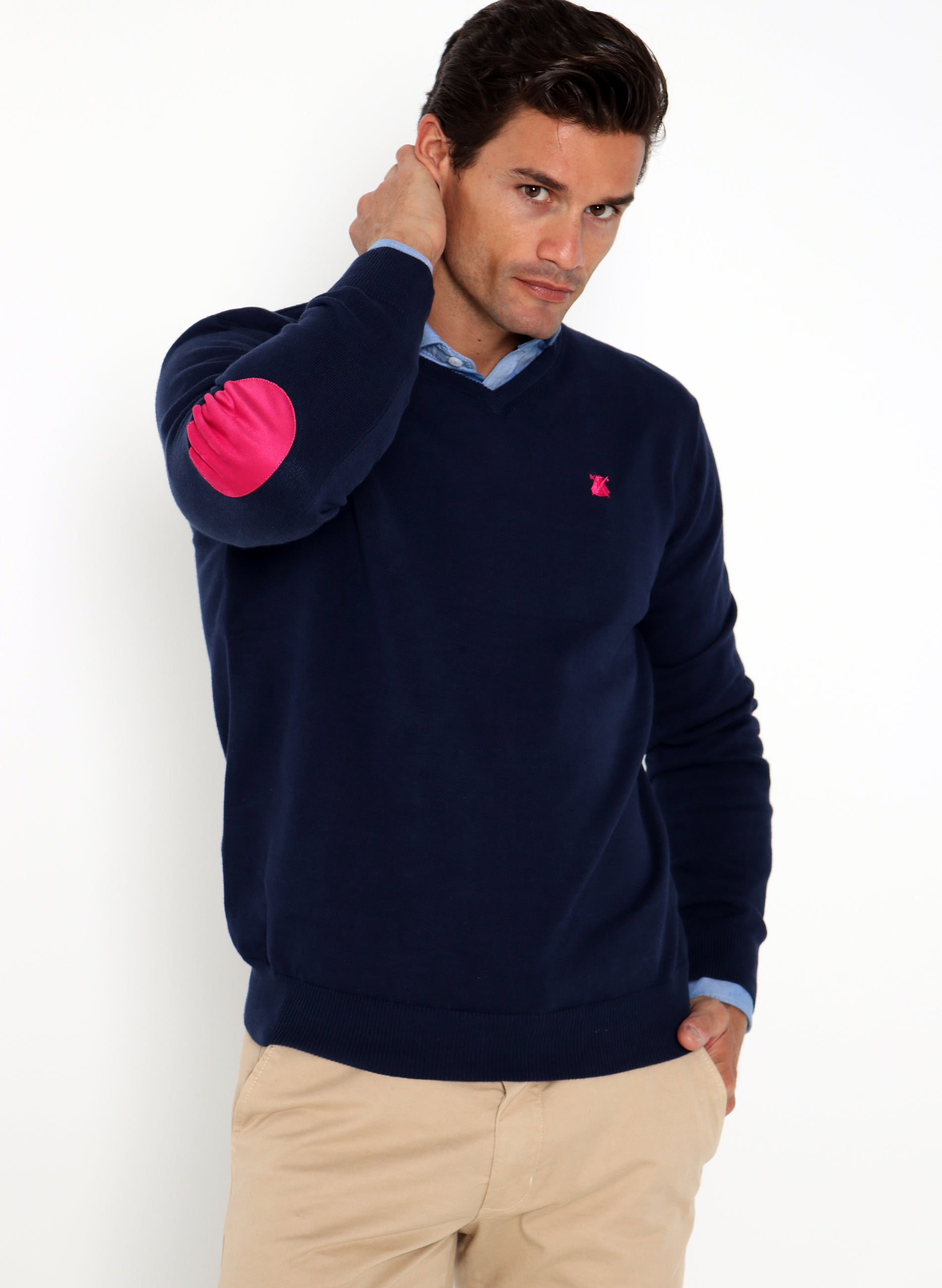 Navy Blue Man Sweater with Elbow Patches