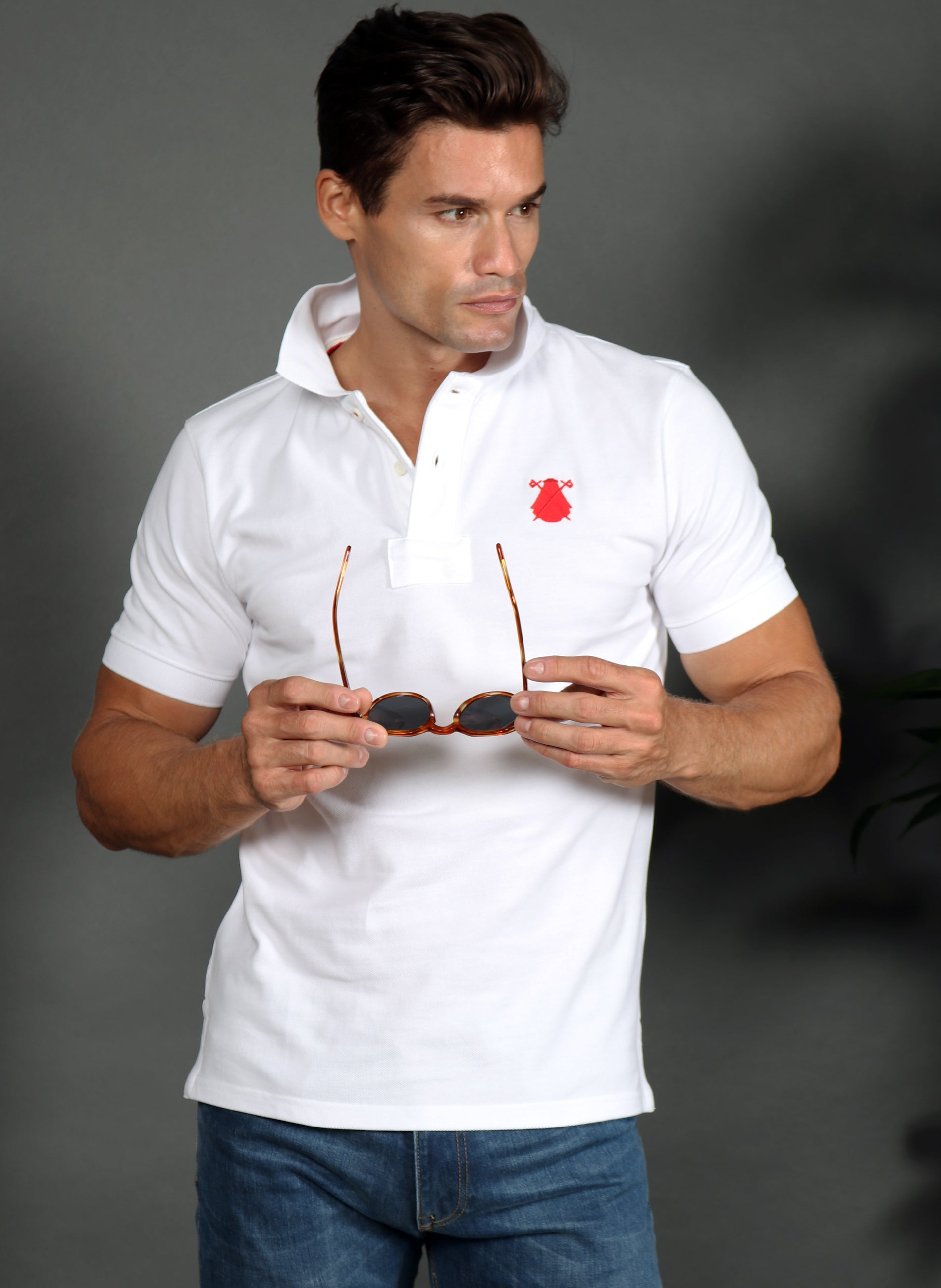 Men's White Olympics Polo Spain