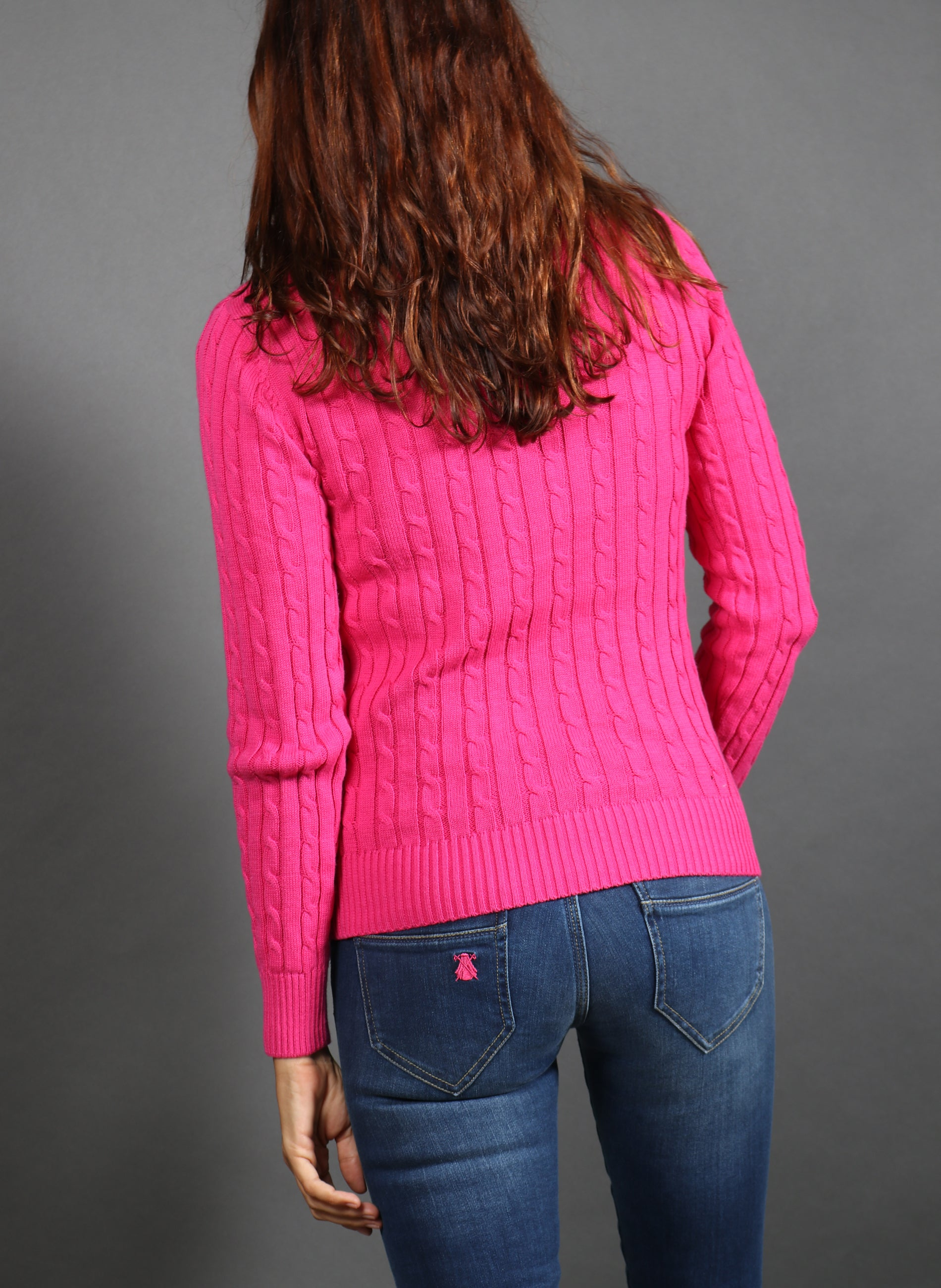 Damen Pink Cable Jumper Capote