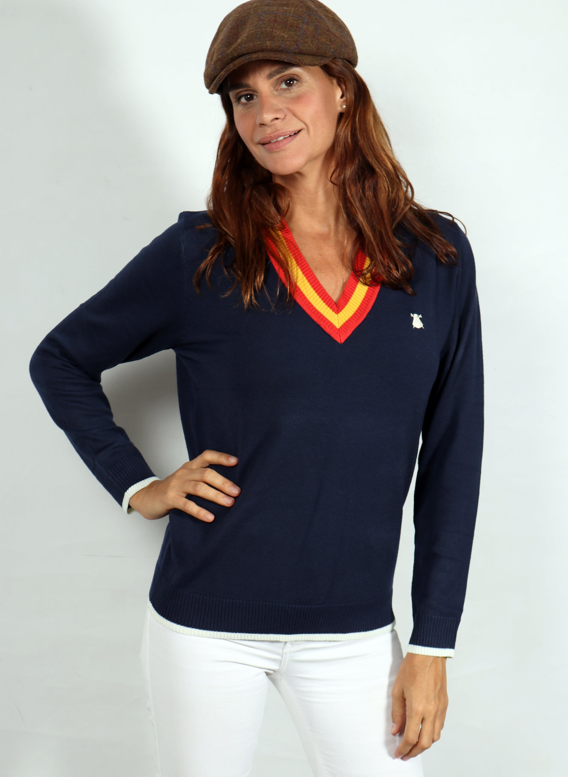 V-Neck Sweater Woman Navy Blue Spain