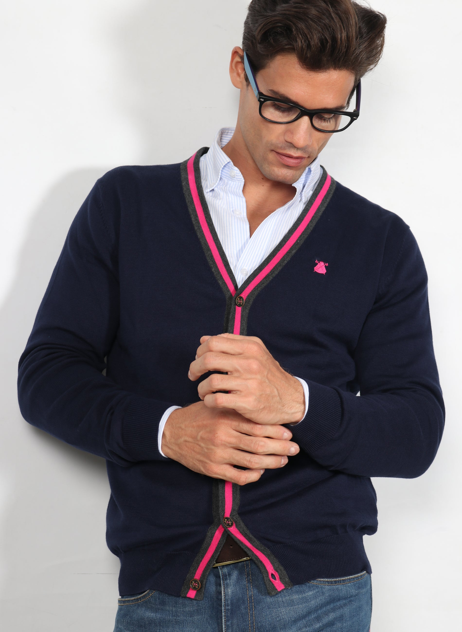 Blue Cardigan Man Pink Stripe