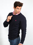 Herren Navy Cable Sweater